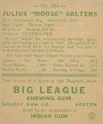 1938 Goudey #255 Julius Solters Cleveland Indians - Back