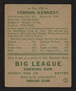 1938 Goudey #256 Vernon Kennedy Detroit Tigers - Back