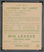 1938 Goudey #257 Al Lopez Boston Bees - Back
