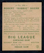 1938 Goudey #258 Bobby Doerr Boston Red Sox - Back