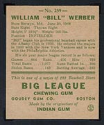 1938 Goudey #259 Bill Werber Philadelphia Athletics - Back