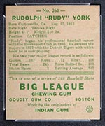 1938 Goudey #260 Rudy York Detroit Tigers - Back