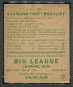 "1938 Goudey #261 ""Rip"" Radcliff Chicago White Sox - Back"