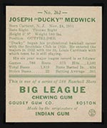 "1938 Goudey #262 Joe ""Ducky"" Medwick St. Louis Cardinals - Back"