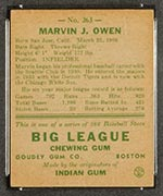 1938 Goudey #263 Marvin Owen Chicago White Sox - Back
