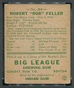 1938 Goudey #264 Bob Feller Cleveland Indians - Back