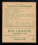 1938 Goudey #265 Charlie Gehringer Detroit Tigers - Back
