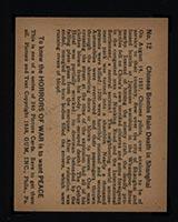 1938 Gum Inc Horrors of War #12 Chinese Bombs Rain Death in Shanghai - Back