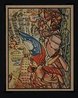 1938 Gum Inc Horrors of War #17 Girl Scout Carries Flag to Doomed Men - Front