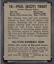 """1948-1949 Leaf #10 Paul """"Dizzy"""" Trout Detroit Tigers - Back"""