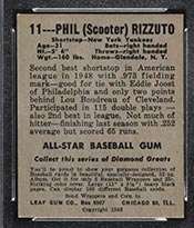 1948-1949 Leaf #11 Phil Rizzuto New York Yankees - Back