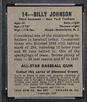 1948-1949 Leaf #14 Billy Johnson New York Yankees - Back