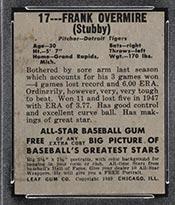1948-1949 Leaf #17 Frank Overmire Detroit Tigers - Back