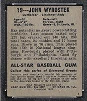 1948-1949 Leaf #19 John Wyrostek Cincinnati Reds - Back