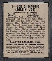 1948-1949 Leaf #1 Joe DiMaggio New York Yankees - Back