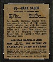1948-1949 Leaf #20 Hank Sauer Cincinnati Reds - Back