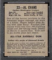 1948-1949 Leaf #22 Al Evans Washington Senators - Back