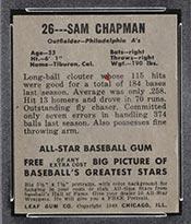 1948-1949 Leaf #26 Sam Chapman Philadelphia Athletics - Back