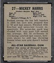 1948-1949 Leaf #27 Mickey Harris Boston Red Sox - Back