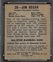 1948-1949 Leaf #28 Jim Hegan Cleveland Indians - Back