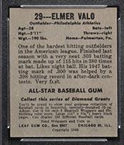 1948-1949 Leaf #29 Elmer Valo Philadelphia Athletics - Back
