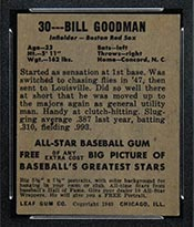 1948-1949 Leaf #30 Bill Goodman Boston Red Sox - Back