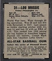 1948-1949 Leaf #31 Lou Brissie Philadelphia Athletics - Back