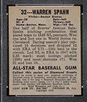 1948-1949 Leaf #32 Warren Spahn Boston Braves - Back