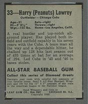 1948-1949 Leaf #33 Harry Lowrey Chicago Cubs - Back