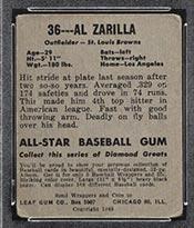 1948-1949 Leaf #36 Al Zarilla St. Louis Browns - Back