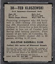 1948-1949 Leaf #38 Ted Kluszewski Cincinnati Reds - Back