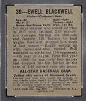 1948-1949 Leaf #39 Ewell Blackwell Cincinnati Reds - Back
