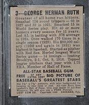 1948-1949 Leaf #3 Babe Ruth New York Yankees - Back