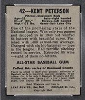 1948-1949 Leaf #42 Kent Peterson (Black Cap) Cincinnati Reds - Back