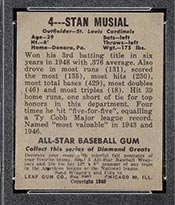 1948-1949 Leaf #4 Stan Musial St. Louis Cardinals - Back