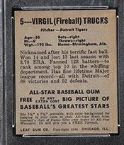 1948-1949 Leaf #5 Virgil Trucks Detroit Tigers - Back