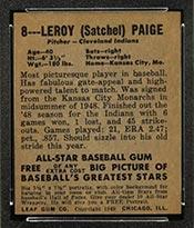 1948-1949 Leaf #8 Satchel Paige Cleveland Indians - Back