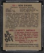 1948 Bowman #10 Bob Davies Rochester Royals - Back