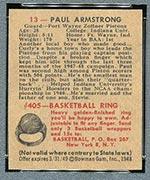 1948 Bowman #13 Paul Armstrong Fort Wayne Zollner Pistons - Back