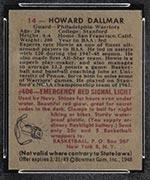 1948 Bowman #14 Howard Dallmar Philadelphia Warriors - Back
