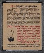 1948 Bowman #16 Sid Hertzberg Washington Capitols - Back