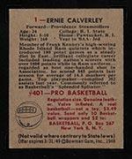 1948 Bowman #1 Ernie Calverley Providence Steamrollers - Back