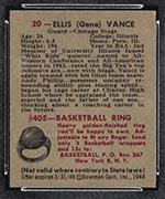 1948 Bowman #20 Ellis (Gene) Vance Chicago Stags - Back