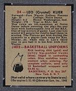1948 Bowman #24 Leo Klier Fort Wayne Zollner Pistons - Back
