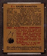 1948 Bowman #2 Ralph Hamilton Fort Wayne Zollner Pistons - Back
