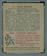1948 Bowman #3 Gale Bishop Philadelphia Warriors - Back