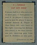 1948 Bowman #5 Single Cut Off Post - Back
