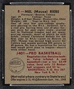1948 Bowman #8 Mel Riebe Boston Celtics - Back