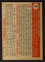 1952 Topps #10 Al Rosen Cleveland Indians - Red Back
