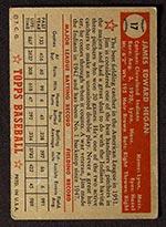1952 Topps #17 Jim Hegan Cleveland Indians - Red Back